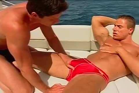 Fervent butthole pumping on the yacht with muscled males
