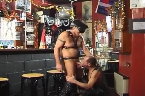 those Two large boyz Wearing Leather have a joy taut Sex At The Bar