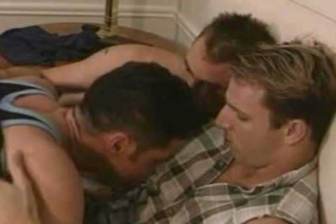 excited homosexual threesome bathroom group-sex