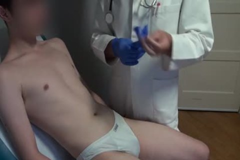 slim Japanese chap Examined, bald And Deflowered On The Doctors Examination Table. thick cum flow.