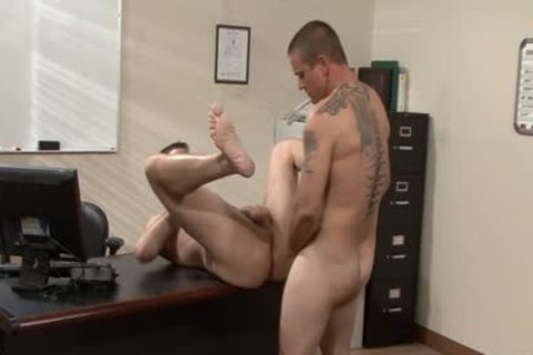 Tattooed homosexual studs fucking In The Office