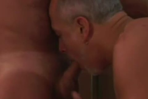 Experienced daddy homo couple engulfing On The dick
