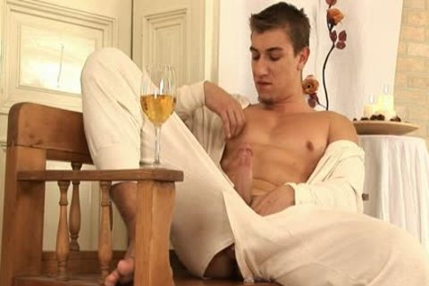 This fashionable homosexual guy Comes Home And Drinks Some Wine before His Has A Sensual Self Devotion Session