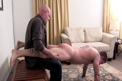 Muscle non-professional spanking With ball cream flow