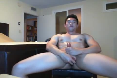 beefy asian boy Beats His dick