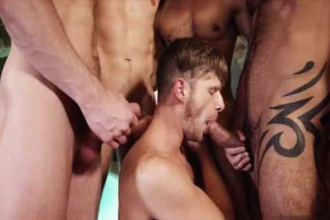 horny gay threesome And goo flow