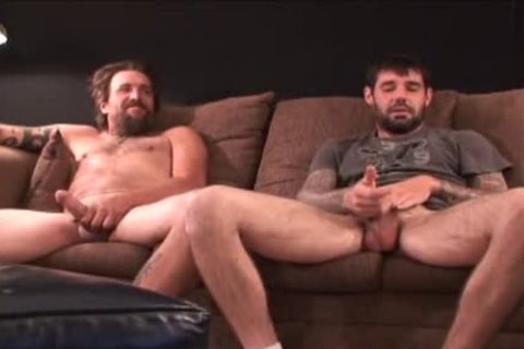 two rough hirsute Straight Redneck Stroking together