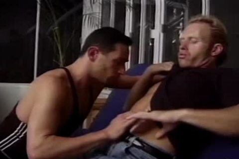 tasty brunette boy Seduces A ally On The daybed