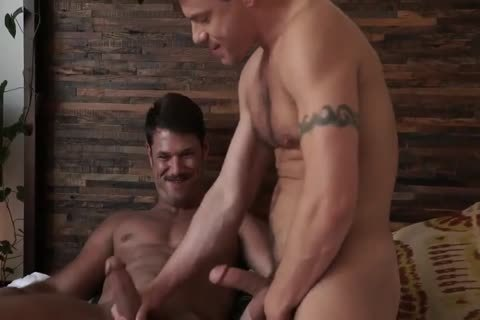 Jesse Santana pounds His friend Tyler Roberts in nature's garb