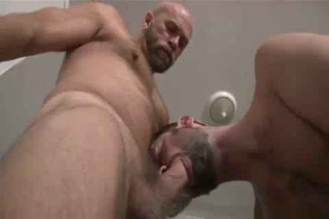 Bear Shoves nude knob in hairy anal gap